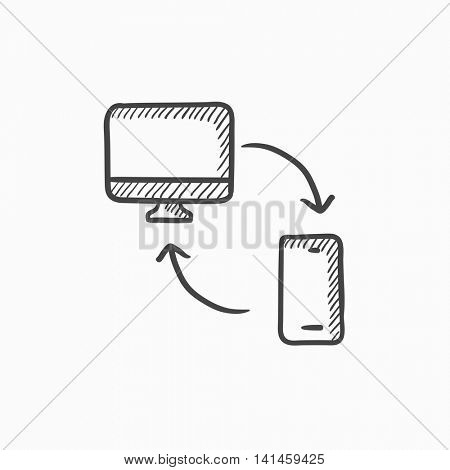 Synchronization computer with mobile phone vector sketch icon isolated on background. Hand drawn Synchronization computer with phone icon. Synchronization sketch icon for infographic, website or app.
