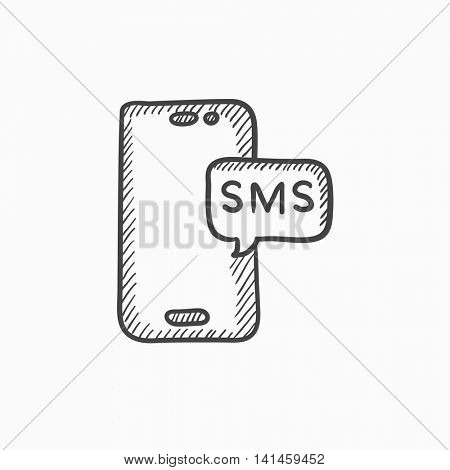 Smartphone with message vector sketch icon isolated on background. Hand drawn Smartphone with message icon. Smartphone with message sketch icon for infographic, website or app.