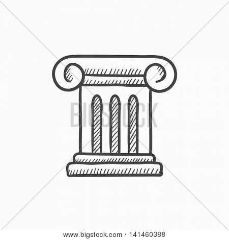 Ancient column vector sketch icon isolated on background. Hand drawn Ancient column icon. Ancient column sketch icon for infographic, website or app.