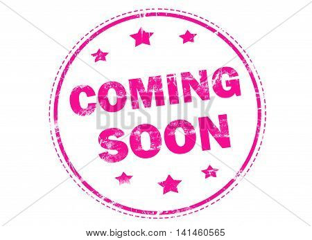 Coming soon word on grunge rubber stamp