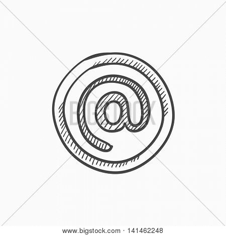 At sign vector sketch icon isolated on background. Hand drawn At sign icon. At sign sketch icon for infographic, website or app.