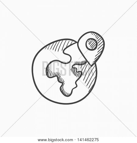 Globe with pointer vector sketch icon isolated on background. Hand drawn Globe with pointer icon. Globe with pointer sketch icon for infographic, website or app.