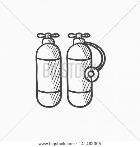 Oxygen tank vector sketch icon isolated on background. Hand drawn Oxygen tank icon. Oxygen tank sketch icon for infographic, website or app.