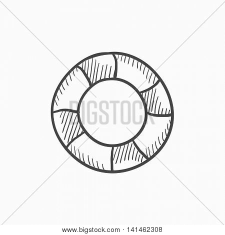 Lifebuoy vector sketch icon isolated on background. Hand drawn Lifebuoy icon. Lifebuoy sketch icon for infographic, website or app.