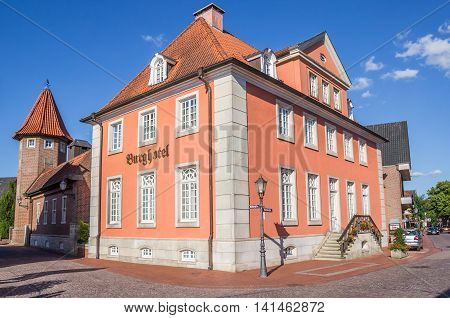 HASELUNNE, GERMANY - JULY 19, 2016: Hotel at the central street in Haselunne, Germany