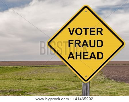 Caution Sign - Voter Fraud Ahead Warning