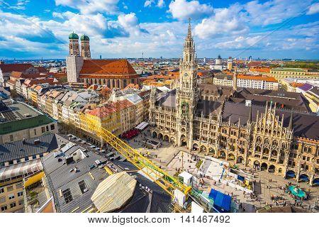 Aerial View Of Marienplatz Town Hall In Munich, Germany