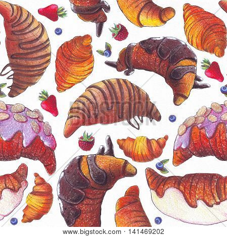 Seamless raster illustration with various croissant and berries. Croissant with strew topping and chocolate syrup baked and fried. Hand drawn with color pencils illustration on white paper.