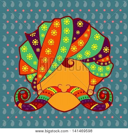 Vector design of Rajasthani man with turban and moustache in Indian art style