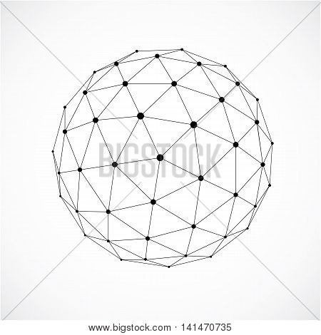 3D Form Made With Black Lines, Futuristic Origami Abstract Modeling. Gray Vector Low Poly Design Ele