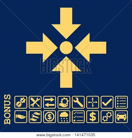 Shrink Arrows icon with bonus pictograms. Vector style is flat iconic symbol, yellow color, blue background. Bonus style is square rounded frames with symbols inside.