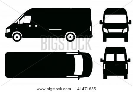 Commercial van bus icon set vector illustration