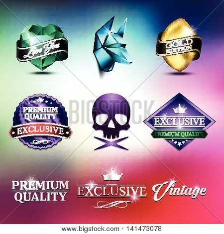 Collection of Retro Vintage Stickers. Colorful Badge Label Set in the Mad Style. Premium Quality Labels. For Your Design. Vector EPS10.