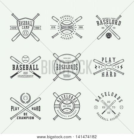 set of vintage baseball logos emblems badges and design elements. Vector illustration