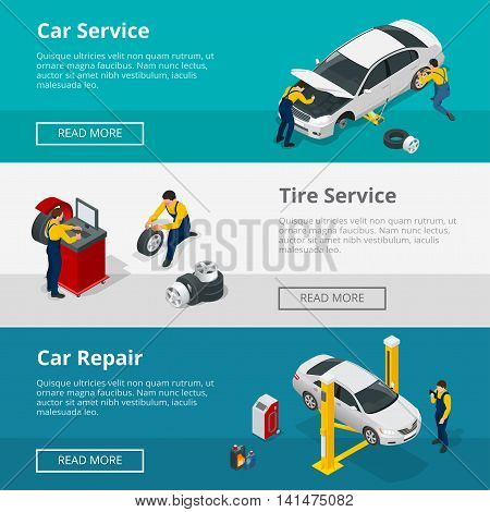 Flat horizontal banners with scenes workers in Car repair service center, Tire service and car repair mechanics. Vector isometric banners for web