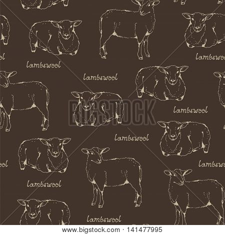Lambswool sheep pattern seamless background with sheep and handwritten lettering farm animal illustration fabric wool texture cloven-hoofed livestock hand drawn sketch