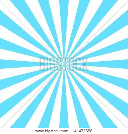 Blue white rays poster. Popular ray star burst background television vintage. Dark-light abstract texture with sunburst flare beam. Retro sunbeam art design. Glow bright pattern. Vector Illustration