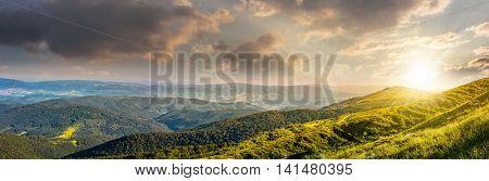 Hillside Panorama In Carpathian Mountains At Sunset
