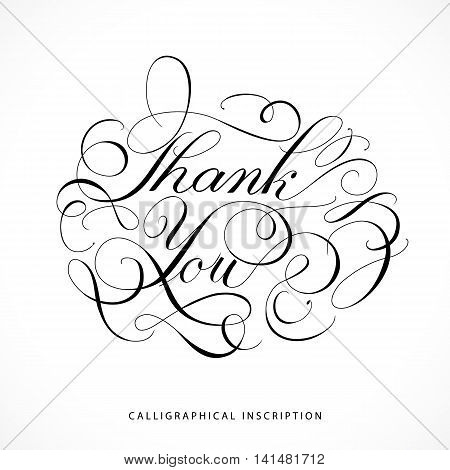 Calligraphical inscription Thank you on white background