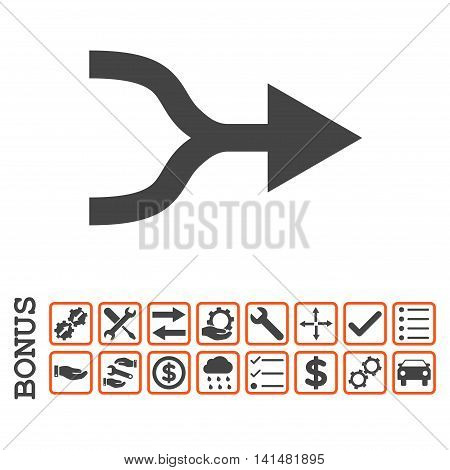Combine Arrow Right icon with bonus pictograms. Glyph style is flat iconic symbol, orange and gray colors, white background. Bonus style is bicolor square rounded frames with symbols inside.