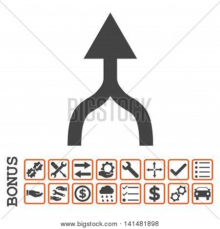 Combine Arrow Up icon with bonus pictograms. Glyph style is flat iconic symbol, orange and gray colors, white background. Bonus style is bicolor square rounded frames with symbols inside.