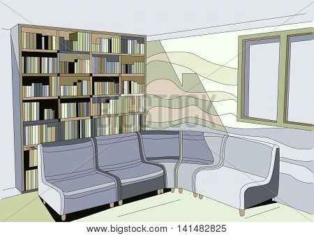 abstract interior with sofa and bookcase. 10 EPS