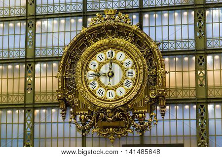 PARIS, FRANCE - MAY 14Ю 2015:It is an old station huge clock inherited Orsay Museum along with the building of the former railway station.