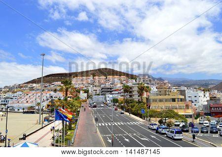 Los Cristianos Tenerife Canary Islands Spain Europe - June 13 2016 : Los Cristianos vacation resort in Tenerife