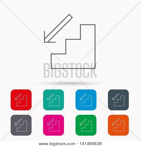 Downstairs icon. Direction arrow sign. Linear icons in squares on white background. Flat web symbols. Vector