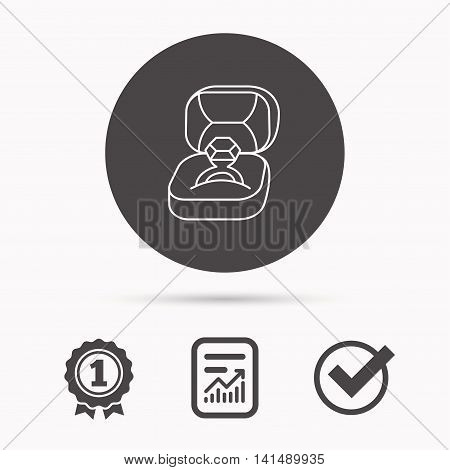 Engagement ring icon. Jewellery box sign. Report document, winner award and tick. Round circle button with icon. Vector