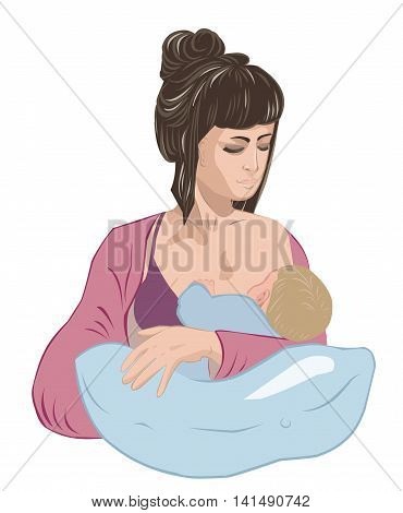 Feminine mother breastfeeding infant baby child lulling little boy asleep on the cozy nursing pillow like in cradle.