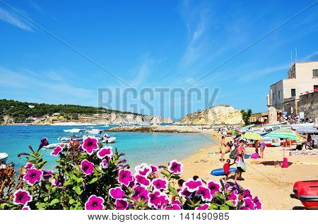 TREMITI ISLAND (SAN NICOLA) ITALY AUGUST 20 - tourists on the beach of the beautiful archipelago August 20 2014, San Nicola, italy