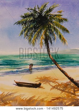 Couple in love on a beach.Picture created with watercolors.