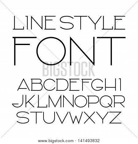 Vector linear font - simple and minimalistic alphabet in line style.