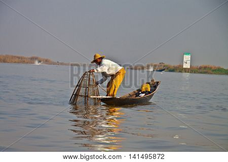 A fisherman on the Lake Inly Myanmar