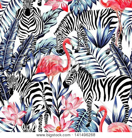 Exotic pink flamingo zebra on background summer blue tropic palm leaf. Watercolor floral print wallpaper. Jungle Safari Hawaii backdrop. Seamless vector pattern. Stripe fashion nature painting