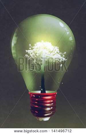 light bulb with the light tree growing inside on dark background, illustration, digital painting