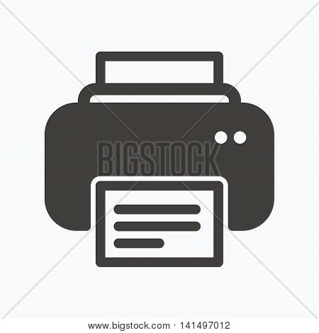 Printer icon. Print documents technology symbol. Gray flat web icon on white background. Vector
