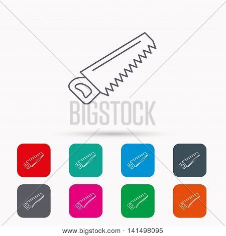 Saw icon. Carpentry equipment sign. Hacksaw symbol. Linear icons in squares on white background. Flat web symbols. Vector