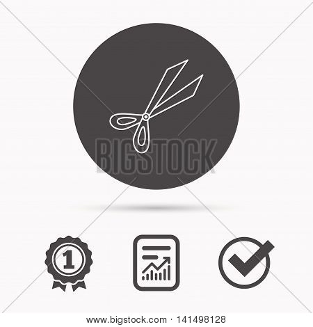 Gardening scissors icon. Secateurs tool sign symbol. Report document, winner award and tick. Round circle button with icon. Vector