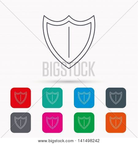 Shield icon. Protection sign. Royal defence symbol. Linear icons in squares on white background. Flat web symbols. Vector