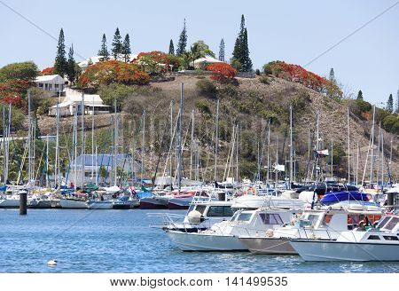 The view of a marina in Noumea city the capital of New Caledonia.