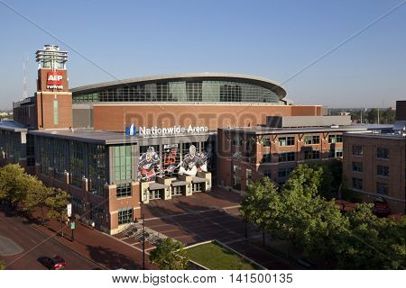 COLUMBUS, OHIO - AUGUST 5, 2016:  Nationwide Arena is a multi-purpose venue and the home of the Blue Jackets hockey team.