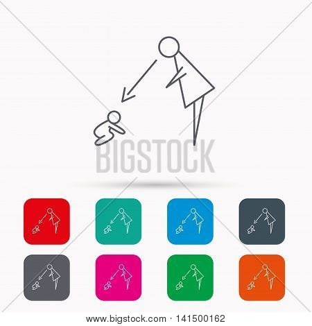 Under nanny supervision icon. Babysitting care sign. Mother watching baby symbol. Linear icons in squares on white background. Flat web symbols. Vector