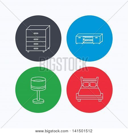 Double bed, table lamp and TV table icons. Chest of drawers linear sign. Linear icons on colored buttons. Flat web symbols. Vector
