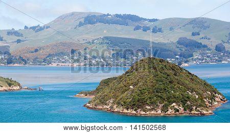 The panoramic view of Dunedin city suburbs (New Zealand).