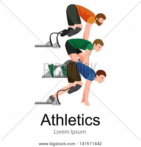 Explosive start of athlete with handicap at the stadium vector illustration