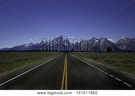 Open Road leading to the Grand Tetons