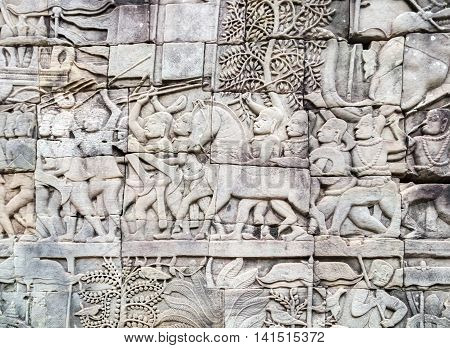 Bas-relief On The Wall, Angkor, Cambodia