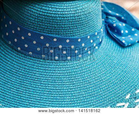 Vintage woman sea hat summer blue hats